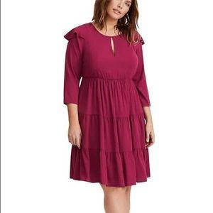 Torrid Wine Challis Tiered Skater Dress Size 1